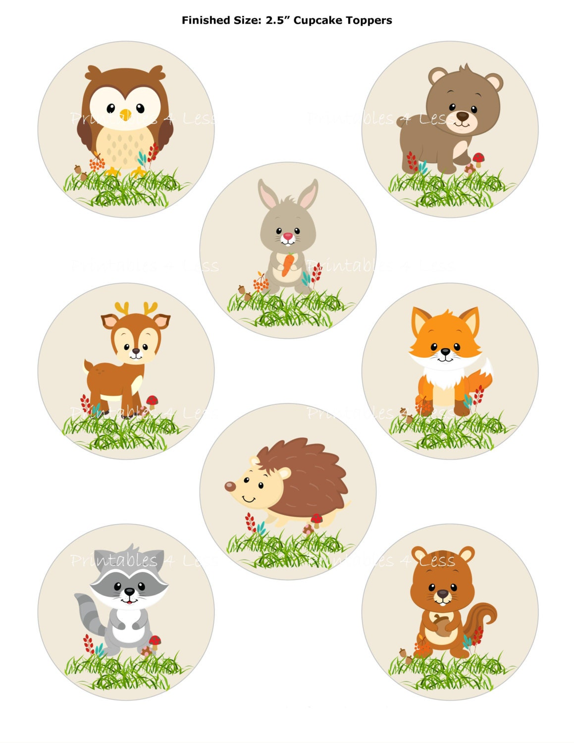 Woodland Cupcake Topper Forest Cupcake Topper Fox Cupcake