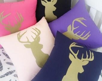 Gold deer head silhouette cushion