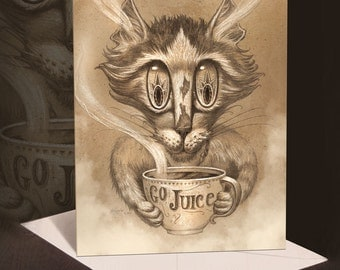 Cat Greeting Card // Coffee Cat Card // Black Cat art card // Cat Stationary // Cat Lovers Blank Card // Coffee Cat