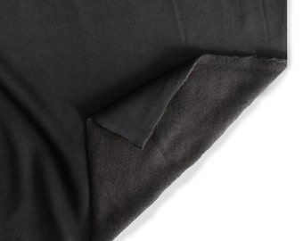 Black Fleece Fabric.  This is a standard weight cotton/polyester fleece fabric used for sweatpants and sweatshirts.