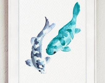 Koi Fishes Watercolor Painting, Japanese Carp Nursery Decor, Abstract Animals Drawing, Blue Fish Giclee Print, Nautical Sea Life Decor