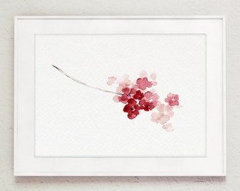 Cherry Blossom Abstract Flower, Shabby Chic Pink Watercolor Painting, Baby Girl Nursery Decor, Floral Kids Room Art Print