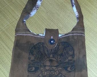 Zen Alien Bag/Purse: recycled, hand- printed, original Design