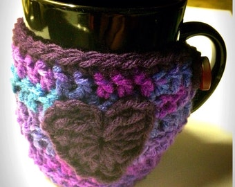 Heart Mug Cozy, Mug Cozie, Pink Purple Blue Mug Cozy, Tea Cozie, Coffee Cozy