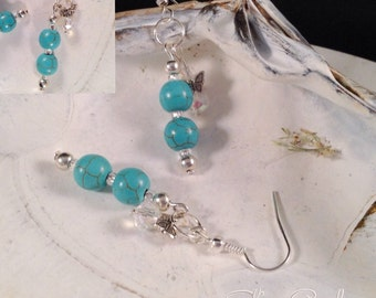 Turquoise and Crystal Dangles