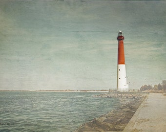 Lighthouse Photography, Long Beach Island, Old Barney, Beach, Seascape Photography, New Jersey, Sea Green, Vintage, Wall Art, Beach House