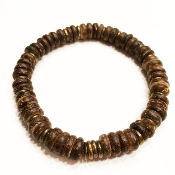Coconut Shell Beaded Bracelet Accented with brass discs; Men; Women; Unisex; organic; natural