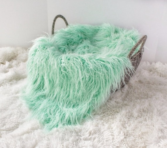 LAST CHANCE.....Curly Mint Green Sheep Faux Fur, Newborn Baby Photo Prop, Flokati Look, Faux Sheep Fur,  Luxury Photo Prop,