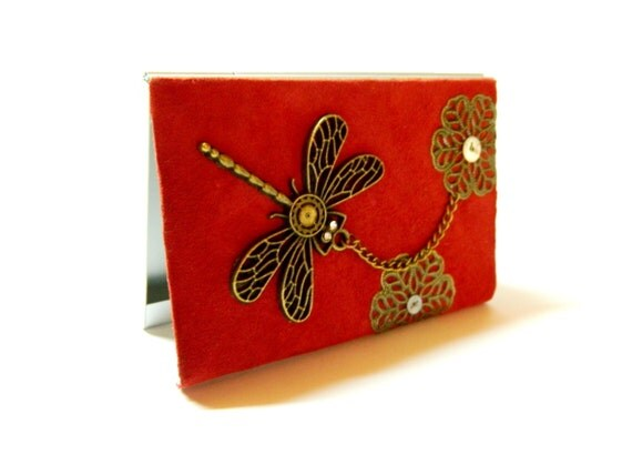 Steampunk business card holder flying flowers for Steampunk business card holder