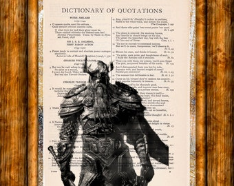 Ancient Viking Drawing Art - Vintage Dictionary Page Book Art Print Unique Upcycled Page Art Viking Print