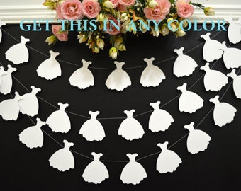 Wedding dress garland, bridal shower decoration, white wedding dress bunting,