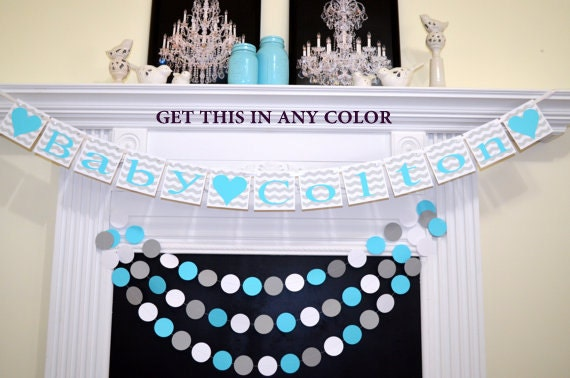 Baby shower banner sign shower garland welcome baby bunting for Welcome home baby shower decorations