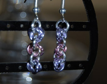 Pink and Purple Rosette Earings