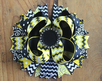 Customizable black and yellow school hair bow, Stacked Boutique hair bow, School colors, Bling Bottle Cap, Girl's Hair Accessory, Hair clip