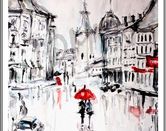 NEW!!!!  Rainy Lviv. Ukraine. Art print.
