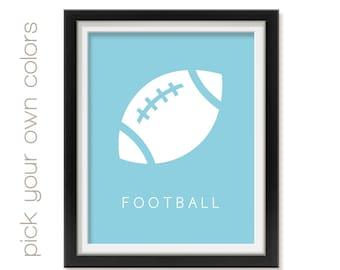 Baby Nursery Football Art, Modern Wall Art, Baby Room Sports Decor, Playroom Artwork, Toddler Bedroom Art Print, Sport Theme Art Sprt001