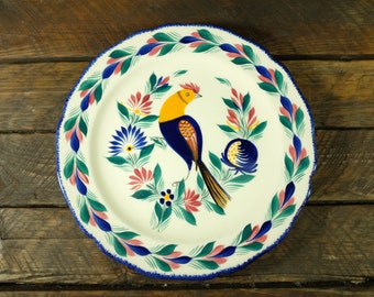 HB Quimper Rooster Motif Faience Plate - Antique French faience plate from Quimper Bretagne France - Hand painted Faience plate