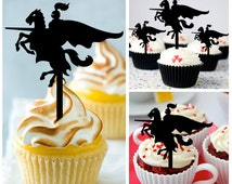 Ca445 New Arrival 10 pcs/Decorations Cupcake Topper/ Knight on Horse /Wedding/Silhouette/Props/Party/Food & drink/Vintage/Fun/Birthday/Shop