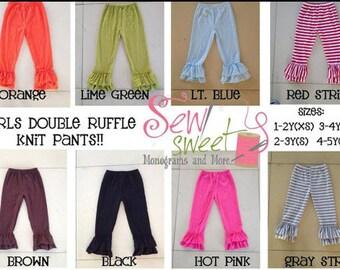 Girls cotton double ruffle pants