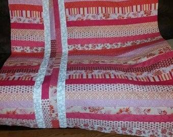 Pretty Pink & Orange Jelly Roll Variation Quilt SALE PRICED