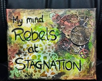Steampunk Inspired Quote Mixed Media Art Canvas
