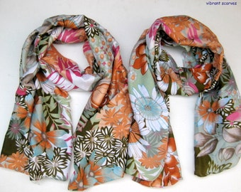 A set of two scarves. Floral scarf/ multicolored scarves/ gift scarf. Gift ideas.