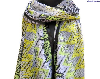 Fashion scarf/ Multicolored scarf/ abstract print scarf/ georgette scarf/ black scarf / large scarf /  gift ideas.
