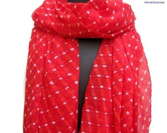 Red scarf,long scarf,tie and dye print scarf in chiffon, for her.Gift ideas.