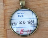 Vintage Library Checkout Card Necklace - May 28, 1985