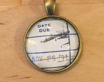 Vintage Library Checkout Card Necklace - November 25, 1991