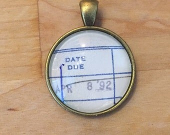 Vintage Library Checkout Card Necklace - April 8, 1992