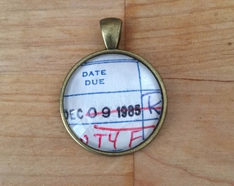 Vintage Library Checkout Card Necklace - December 9, 1985