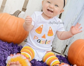 Candy Corn Halloween Outfit - Personalized Halloween Outfit - Candy Corn - My First Halloween - Leg Warmers - Headband - Halloween Shirt
