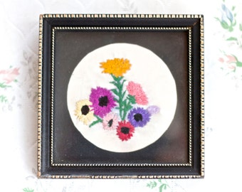 Embroidered Flowers in Small Square Frame