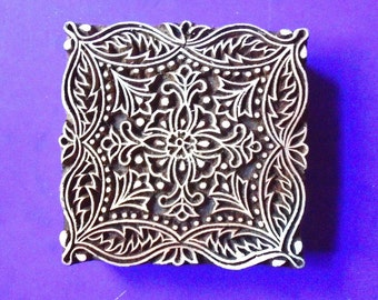 Large Square 4 inch Hand Carved Wood Pottery Stamp Floral Motif Textile Indian Print Block