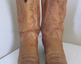 Vintage 'Lucchese' Tan Leather Cowboy Boots - UK Size 10 - Nice!!