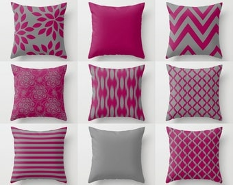 FUCHSIA pillow covers, fuchsia grey pillows, accent pillow covers, chevron, floral, solid, Home Decor, Mix and Match, Cushion Covers