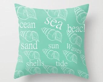 Throw Pillow Cover Beach Pillow Cover Coastal Decor Beach House Pillow Cover Nautical Decor Seashell pillow cover Home Decor