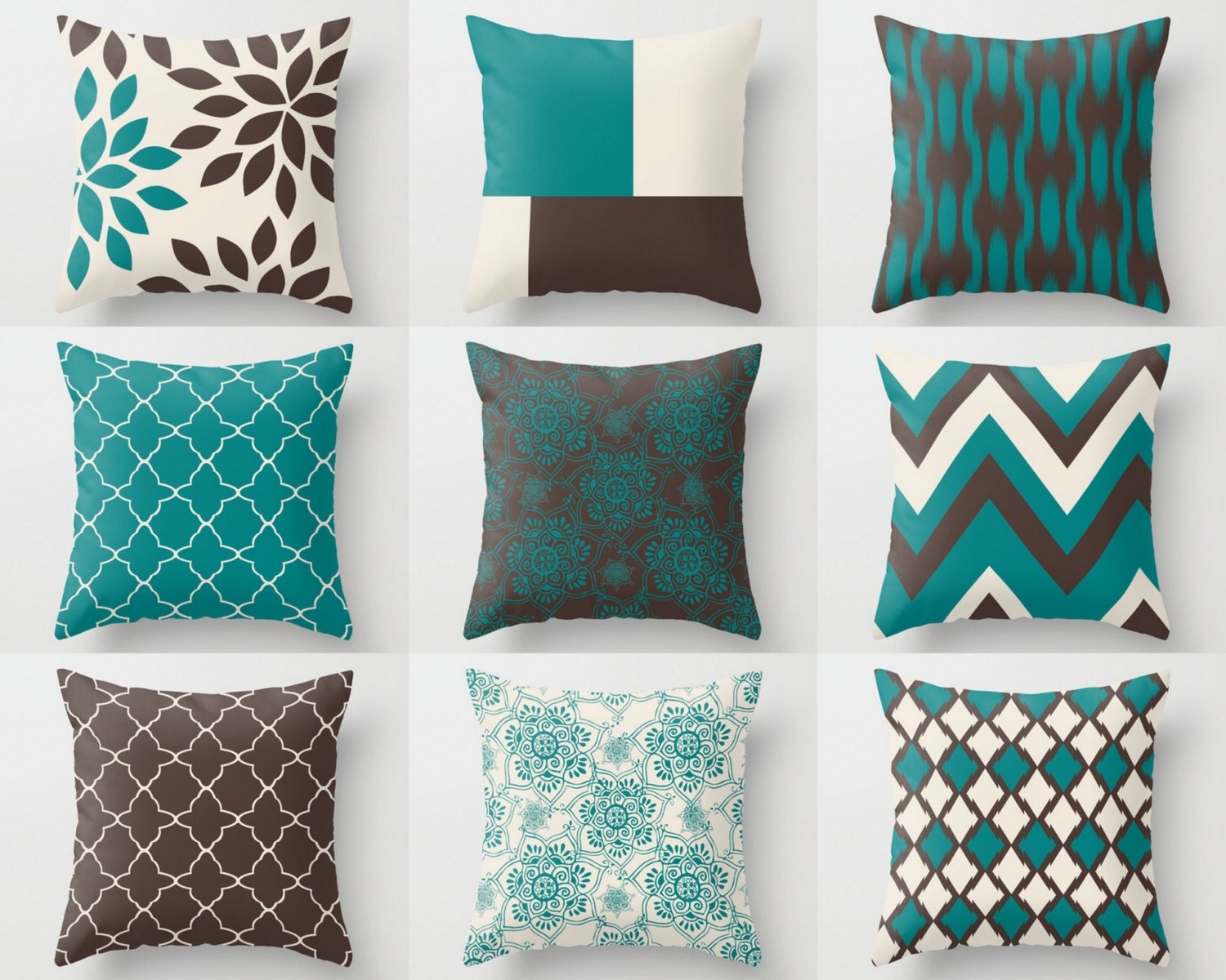 Teal brown pillows pillow covers teal chocolate by - Sofa azul turquesa ...