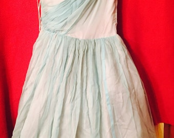 Vintage 1950's prom dress in blue/green