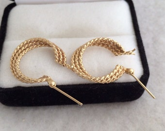 14K 585 Fine Yellow Gold Shiny Mesh Woven Three Strand Hoop Earrings