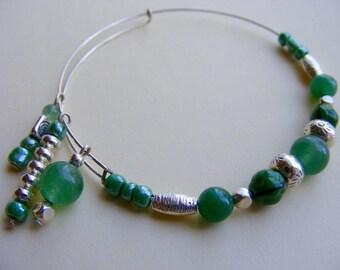 Jade and Art Glass Bangle Bracelet