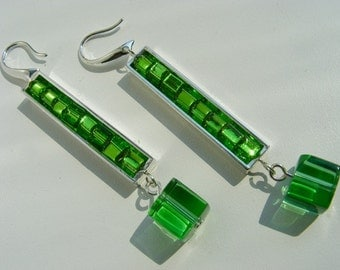Green and Silver Rectangle Dangle Earrings