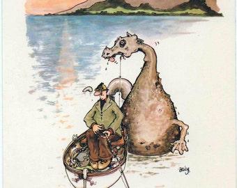 Loch Ness, Scotland, Comical Unused Postcard, a bit worn