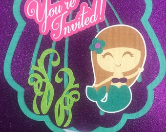 Under the sea, Mermaid Invitations, Seashell, Girly