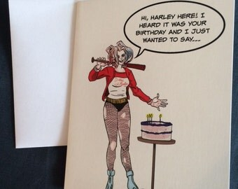 Harley quinn birthday card classic harley quinn greeting card by