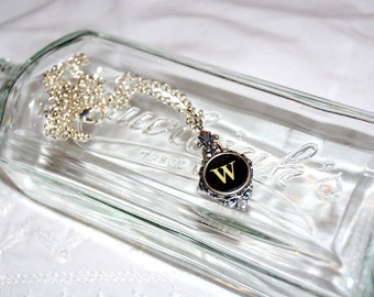 Typewriter Key Necklace, Personalized with a Letter W Initial, Initial Jewelry, Gift for Her.