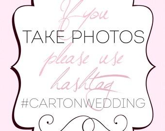 GLITTER Hashtag Wedding Sign CUSTOMIZABLE