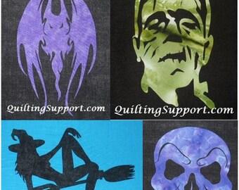 4 Halloween Quilt Applique Patterns (Set 1)