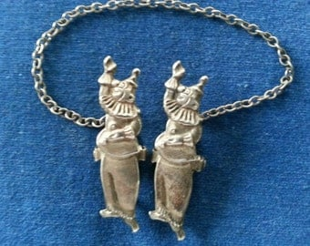 Vintage Sterling Clown Bib Clips, Sterling Clown Sweater Clips